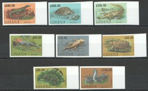 P0759 IMPERFORATE GHANA REPTILES FAUNA ANIMALS SET MNH