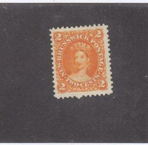 NEW BRUNSWICK # 7b VF-MNG 2cts 1863 QN VICTORIA /DEEP ORANGE /CENTS ISSUE CV $30