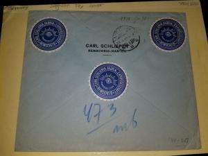 1938 Germany Netherlands Indies Medan Sumatra Zeppelin # C45 Registered Cover
