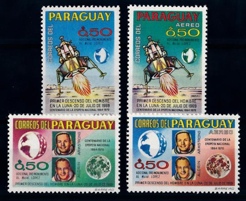 [66079] Paraguay Local Issue 1969 Space Travel Weltraum Armstrong Airmail MNH