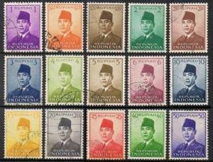 Indonesia 387-400,used.Michel 82-88,110-117. President Sukarno,1951-1953.