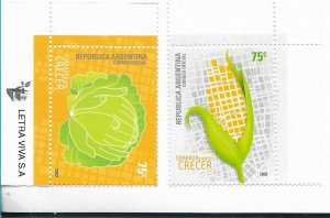 ARGENTINA 2003 AGRICULTURE FOOD DEVELOPMENT MAPS SEMBRAR PARA CRECER 2 VAL MNH