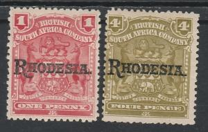 RHODESIA 1909 RHODESIA OVERPRINTED ARMS 1D AND 4D