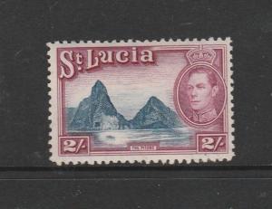 St Lucia 1938/48 GV1 Defs 2/- MM SG 136