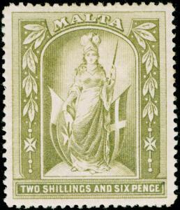 MALTA SG34, 2s 6d olive-grey, M MINT. Cat £45. WMK CC.