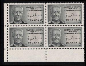 CANADA - 5c GG Vanier 1967 SC474 Mint NH Block