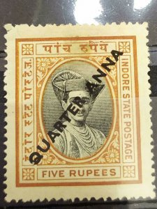 India Feud State 1940 Indore/Holkar Quarter Anna Surcharge - SG 33 - CAT $40
