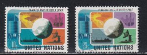 United Nations - New York # 256-257, Outer Space, Used, 1/3 Cat.