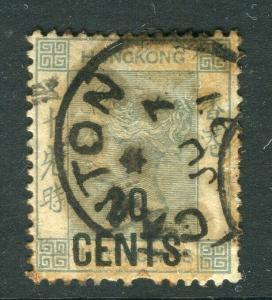 HONG KONG; 1891 classic QV surcharged issue 20 CENTS fine Canton cancel