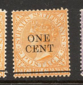 Malaya Straights Settlements 1892 Issue Fine Mint Hinged 1c. Surcharged 303202