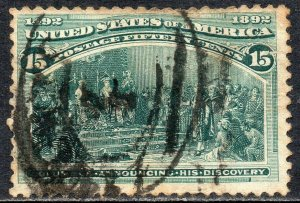 1893 USA Sc 238 15c dark green Columbian Good Used
