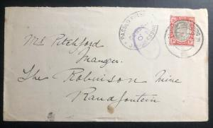 1902 Johannesburg South Africa Censored To Randfontein Transvaal Stamp