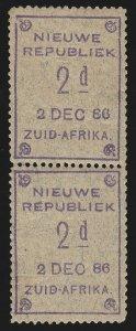 TRANSVAAL - NEW REPUBLIC : 1886 (2 Dec) 2d, pair, TETE-BECHE. MNH **. Very rare.
