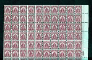 UNITED STATES SCOTT#657 SULLIVAN EXP  SHEET OF 100 UNFOLDED COMPLETE MINT NH