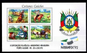BRASIL BRAZIL 1992 ARBRAFEX 92 HORSES,MUSIC FAUNA S/S YV BL 89 MI 88 MNH