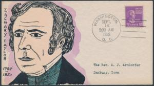 #817 MAE WEIGAND FDC HANDPAINTED CACHET ZACHARY TAYLOR BS1894