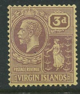 Virgin Is.- Scott 49 - KGV Definitive -1922 - MVLH -Wmk 3 - Single 3p Stamp