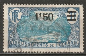French Polynesia 1927 Sc 68 used Packet Boat cancel