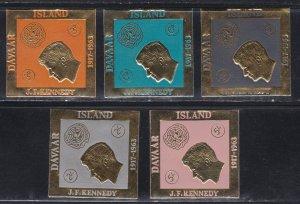 Davar Island, John F. Kennedy Gold Foil Stamps, NH Set