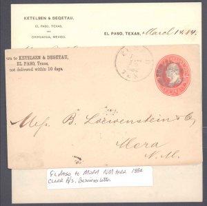 El Paso County El Paso with Letter To New Mexico Terr. ( Postal History ), 1884