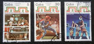 CUBA Sc# 3284-3286  CARIBBEAN GAMES sports CPL set of 3  1990  used / cancelled