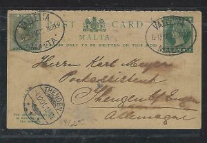 MALTA  (PP2708B) 1901  QV 1/2d HALF OF REPLY PSC+1/2D TO GERMANY, NO MSG