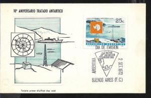 AANT-129 ARGENTINA ANTARCTICA ANTARCTIC 1972 TREATY 10° ANIV MAP STATION SHIP,MC