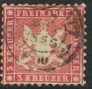 WURTTEMBERG GERMAN STATES 1863 3kr DARK CLARET Sc 36a VFU