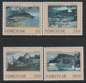 1990 Faroe Islands - Sc 212-5 - MNH VF - 4 single - Nolsoy Island by Danielsen