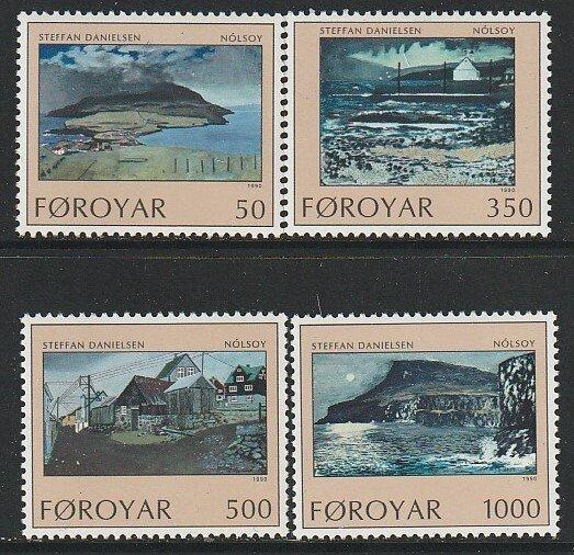 1990 Faroe Islands - Sc 212-5 - MNH VF - 4 single - Nolsoy Island by Danielsen