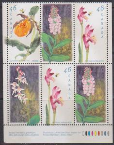 Canada #1787i//1790ii Mint 1999 Orchids Imprint Block of Six ex Booklet VF-NH
