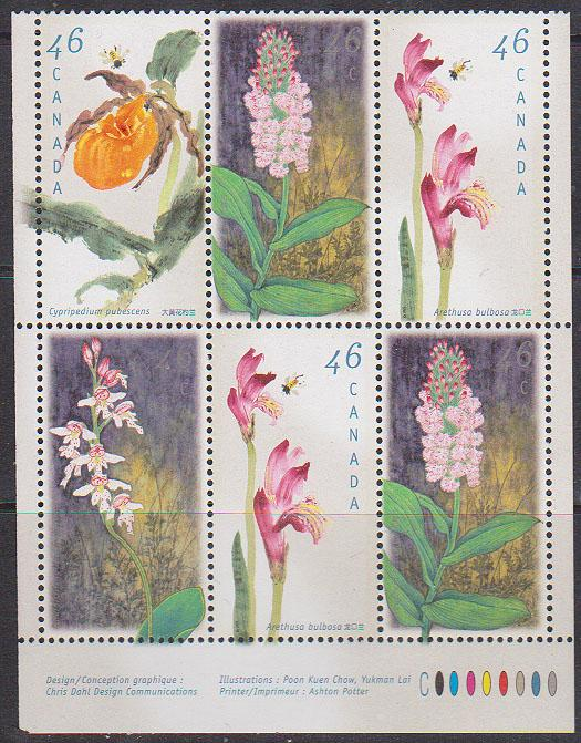 Canada #1787i//1790ii Mint 1999 Orchids Imprint Block of Six ex Booklet VF-NH