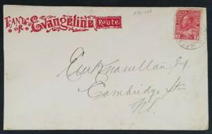 1914 Nova Scotia Canada Dominion Atlantic Railway Land of Evangeline Ad Cover