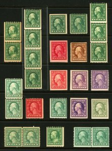 #345-#532, 1909-1920 Assorted Washington-Franklin Coils, Pairs, Strips, Imperfs