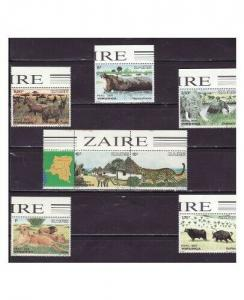 Zaire - Animals on Stamps Monkey, Lion - 7 Stamp  Set  1078-84