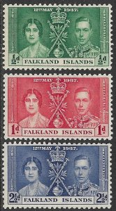 FALKLAND ISLANDS 1937 KGVI CORONATION Set Sc 81-83 MLH