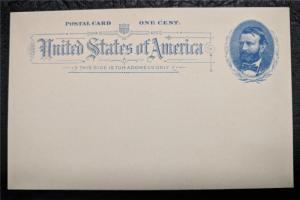 US Stamps Mint Postal Card UX11var damaged 'OST' Grant 1891
