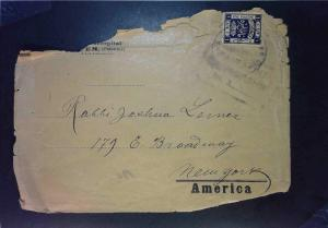 Palestine WWI Censored Cover to USA (Rough Shape) - Z1592