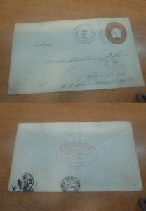 Costa Rica PSE 1904 10c to USA, backstamps
