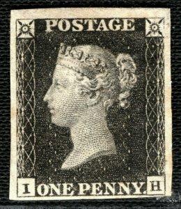 GB PENNY BLACK QV Stamp SG.2 1840 1d Plate 1b (IH) Mint LMM Cat £12,500 GRED22