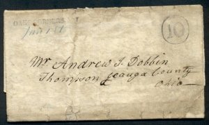 NEW YORK, Oaks Corner (Ontario Cty), 1845, SFL to Ohio, 10 in circle,