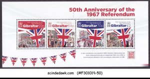 GIBRALTAR - 2017 50th ANNIV. OF OF THE 1967 REFERENDUM - MIN/SHT MNH