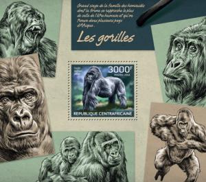 CENTRAFRICAINE 2014 SHEET GORILLAS MONKEYS PRIMATES WILDLIFE