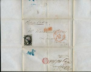 #9X1a ON FOLDED LETTER 2/13/1846 TO LANSINGBURGH, NEW YORK CV $750.00 HV4666