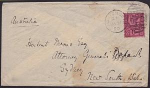 GB 1890 cover with QV 6d Jubilee Portsmouth to Sydney Australia.............6417