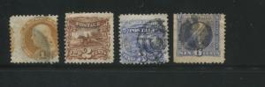 1869 US Stamps #112-115 Used Average Postal Canceled G. Grill Set