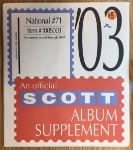 Scott National #71 Item #100S003 Album Supplement (through 2003)