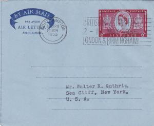 GB 1955 6d Air letter Northampton-New York USA VGC