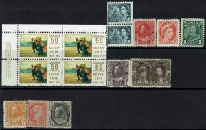 Canada 14 Mint Stamps, Mint Block is Mint Never Hinged, see notes -  Lot 120516
