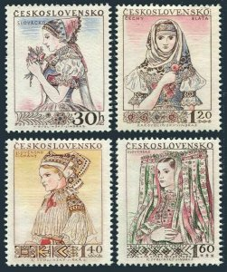 Czechoslovakia 776-779,MNH.Michel 994-997. Costumes 1956.Moravia,Blata,Cicmany,